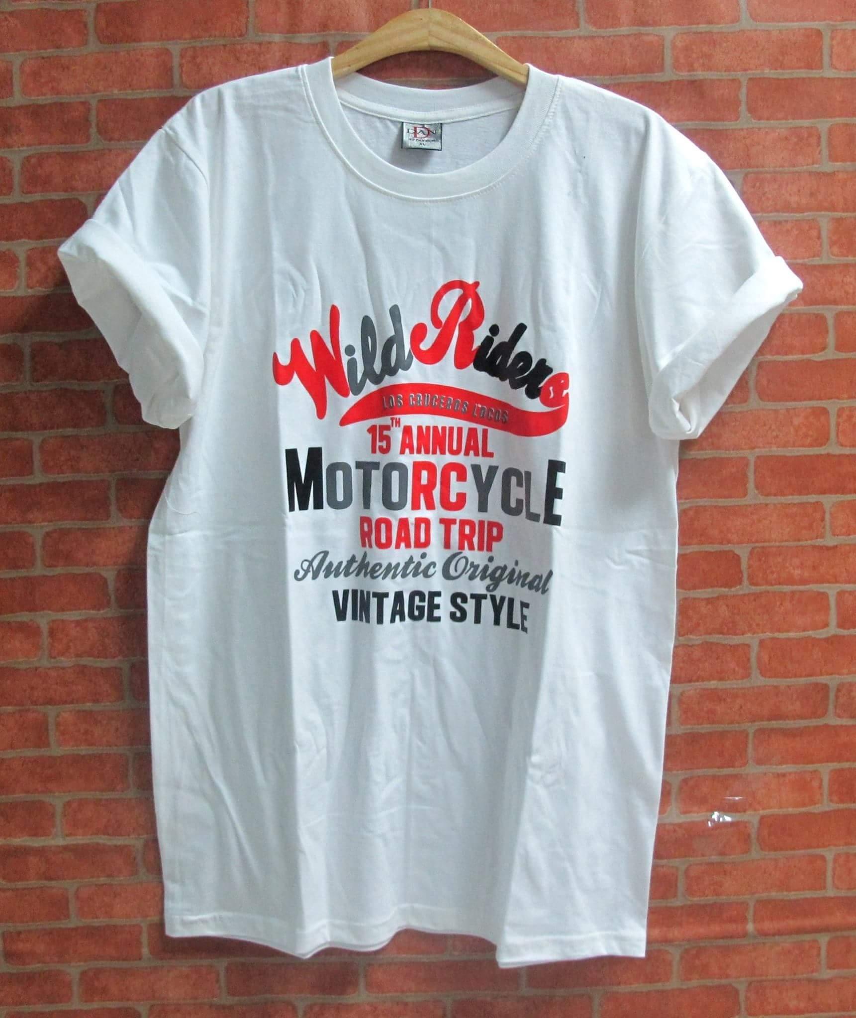 เสื้อยืดสกรีน สวยๆ คอกลม เนื้อผ้านุ่มใส่สบาย motorcycle road trip